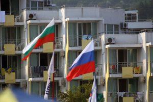 Drapeaux russes et bulgares à la station balnéaire d'Albena