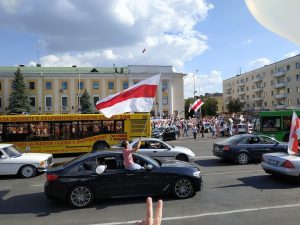 Protest rally against Lukashenko, 16 August. Baranavichy