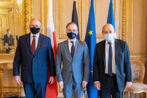 Les ministres des Affaires étrangères de Pologne, d'Allemagne et de France, Zbigniew Rau, Heiko Maas et Jean-Yves Le Drian, Réunion du Triangle de Weimar, Paris, 15 octobre 2020