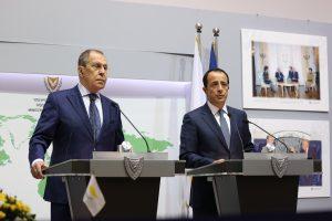 Conférence de presse des ministres russe et chypriote des Affaires étrangères, Sergueï Lavrov et Nikos Kristodoulidis, Nicosie, 8 septembre 2020 (source : ministère russe des Affaires étrangères).