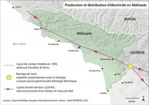 Carte production et distribution d'électricité Abkhazie